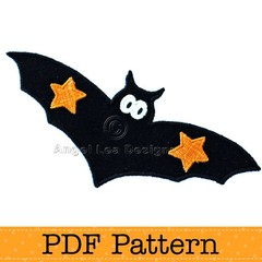 Bat Applique Template. PDF Template. Children's Halloween Applique Designs