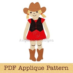 Cowgirl Applique Pattern PDF Applique Template Cow Girl Applique Design