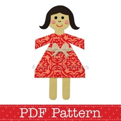 Paper Chain Doll Applique Template, DIY, PDF Pattern for Children, Baby, Girl