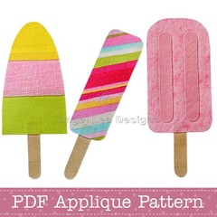 Popsicles Applique Pattern PDF Template Icy Pole Ice Lolly Applique Designs