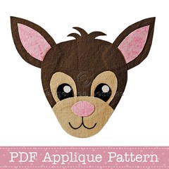 Deer Applique Template, PDF Pattern, Christmas Reindeer, Boy Girl DIY