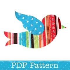 Flying Bird Applique Template, Animal, DIY, PDF Pattern for Children, Girls