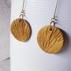 ICE gold metallic brass neutral minimalistic round drop polymer clay earrings