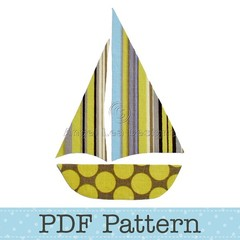 Sail Boat Applique Template, Yacht, Sailboat, Transport, PDF Pattern, Children
