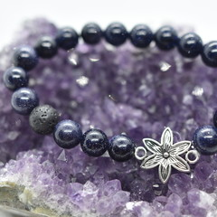 Blue Goldstone and Lava Bead Flower Bracelet