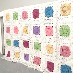 Crochet blanket, white, circuits, acrylic yarn, decor, pastel pink, newborn gift