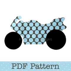 Road Bike Applique Template, Motorbike, Transport, DIY, PDF Pattern, Children