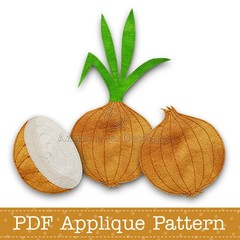 Onion Applique Template, PDF Applique Pattern, Onion with Stem, Vegetable Design