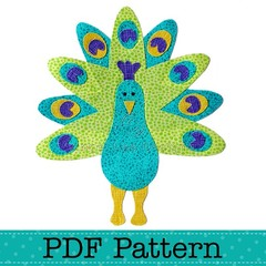 Peacock Applique Template, PDF Pattern, Bird Animal Designs DIY