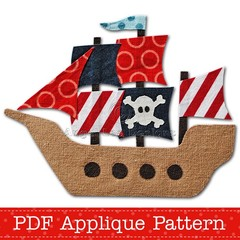Pirate Ship Applique Pattern PDF Template Boys Applique Design Pirates