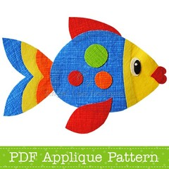 Fish Applique Pattern. PDF Template. Sea Creatures Applique Design for Children