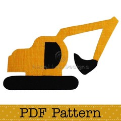 Excavator Applique Template, DIY, PDF Pattern, Boy, Baby