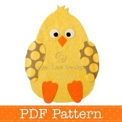 Chicken Applique Template, PDF Pattern, Easter Chick Design, Boy Girl DIY