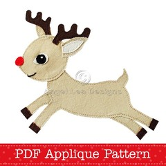 Reindeer Applique Template Christmas Reindeer Applique Pattern PDF