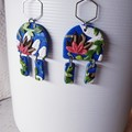 COASTAL GARDEN art dangles blue coral white texture polymer clay earrings drop