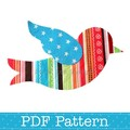 Flying Bird Applique Template, Animal, DIY, PDF Pattern for Children, Girls