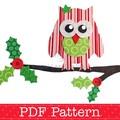 Christmas Owl on Holly Branch Applique Template. Christmas Applique Design
