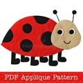 Ladybug Applique Pattern. Ladybird PDF Template. Lady Beetle Bug Applique Design