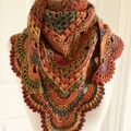 Crocheted Shawl Autumnal shades Granny meets Virus pattern