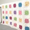 Crochet blanket, white, circuits, acrylic yarn, decor, pastel pink, newborn gift