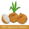 Onion Applique Template, PDF Applique Pattern, Onion with Stem, Vegetable Design