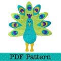 Peacock Applique Template, PDF Pattern, Bird Animal Designs DIY