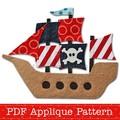 Pirate Ship Applique Pattern PDF Template Boys Applique Design Pirates