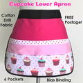 Teacher Apron Cupcake Six pockets FREE POST!