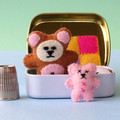 Miniature felt teddy bear play set, teddy in a tin bed, dollhouse animal bed