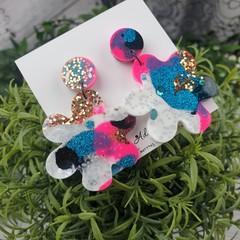 Blooming Cindy Flower Drop Resin - Stud Dangle earrings