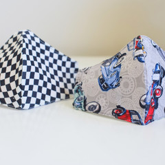 Kid Size Patterned Fabric Face Mask 3 cotton layers