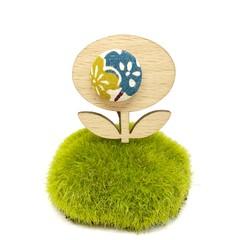 Flower Brooch - Teal and Mustard Blossom
