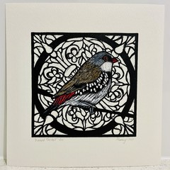 Australian Birds - Diamond Firetail Lino-print and Watercolour