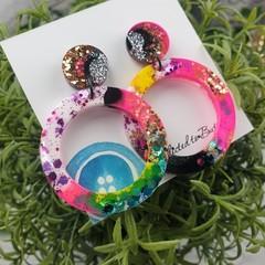 Cindy Pop Circle Drop Resin - Stud Dangle earrings