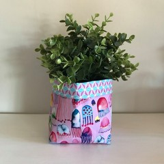 Small fabric planter | Storage basket | Pot cover | JELLYFISH & PURPLE RETRO