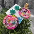 Cindy Pop Flower Power - Glittering - Drop Resin - Stud Dangle earrings