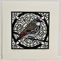 Australian Birds - Diamond Firetail Lino-print and Watercolour