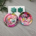 Cindy Pop Flower Power - Glittering - Drop Resin - Stud Dangle earrings