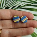 Bright and Stipey Hexagon Studs