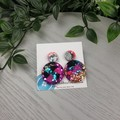 Cindy Pop Circle - Glittering - Drop Resin - Stud Dangle earrings