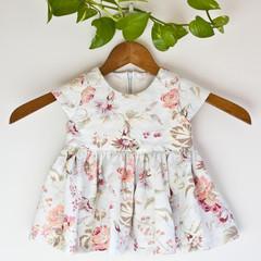 Linen Floral Baby Dress Size 0