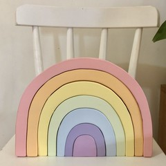 Large hand painted wooden PASTEL rainbow.  +READY TO POST+