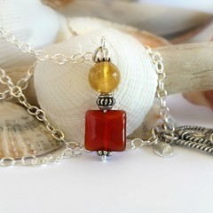Sterling silver and burnt orange gemstone bohemian pendant necklace
