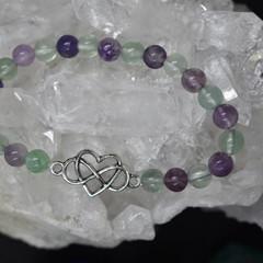 Rainbow Flourite Bracelet with Infinity heart charm.