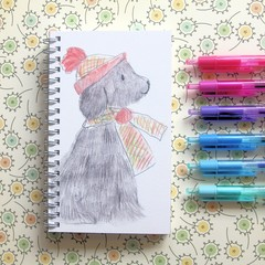 Handmade Notebook, Sketch Book, Journal, Diary, Carol the Dog