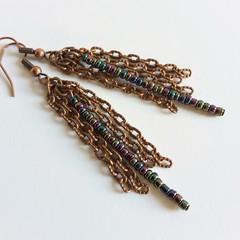 Art deco Long beaded chain tassel fringe dangling earrings , Metallic Rainbow