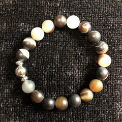 Men's Gemstone Bracelet (Banded Agate with Silver Accents)