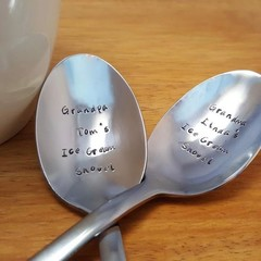 2 x Spoons With Custom Text On The Bowl, Hand Stamped, Dessert Spoons