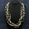 Necklace - Clear Swarovski Crystals on Hand Crocheted Gold Chains