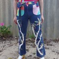 Alien Garden Jeans - Size M, one off reworked vintage with rainbow embroidery